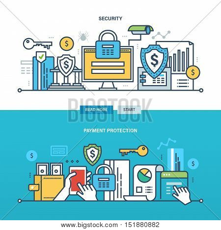 Concept of internet business, technology, security, payment protection, monitoring and the statistics. Color Line icons collection. Vector design for website, banner, printed materials and mobile app.