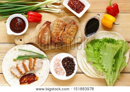 roasted duck breast served with in the Chinese style, Peking duck