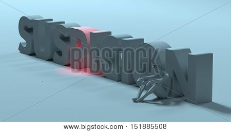 Conflicted thinking man sitting near Suspicion text sign 3d render illustration