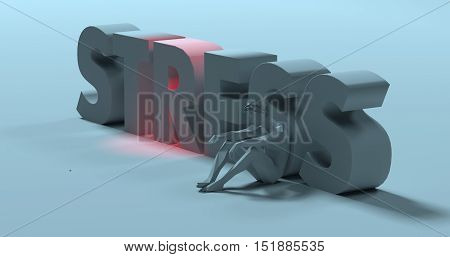 Sad frustrated man sitting near Stress text sign 3d render illustration