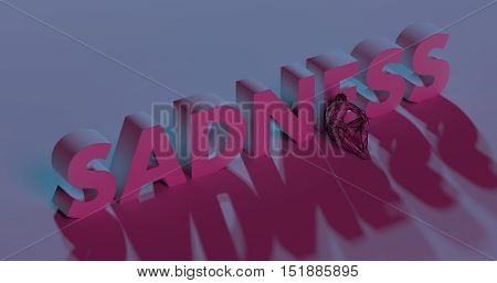 Depressing red Sadness text sign near lonely man low poly 3d render illustration