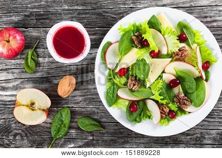 Apple, Spinach, Cheese, Lettuce Leaves Frise, Caramelized Walnuts, Cranberry Salad
