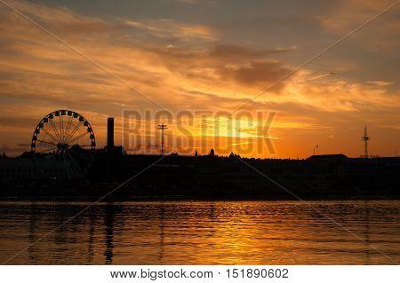 Mystical sunrise or sunset morning in Helsinki Finland