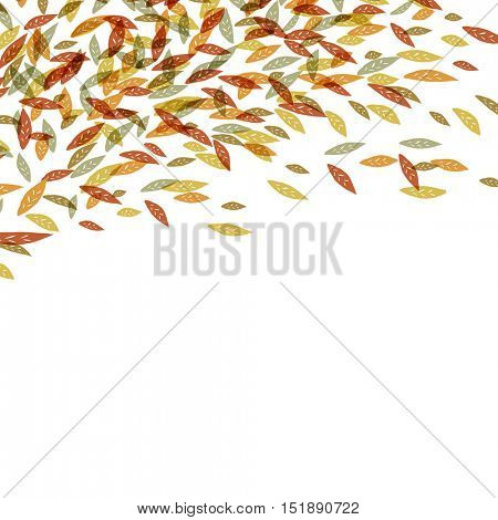 Autumn fallen leaves. Autumn fall illustration. For autumn and thanksgiving greeting cards designs. Hand drawn quirky vector illustration. Up edge composition with space for text