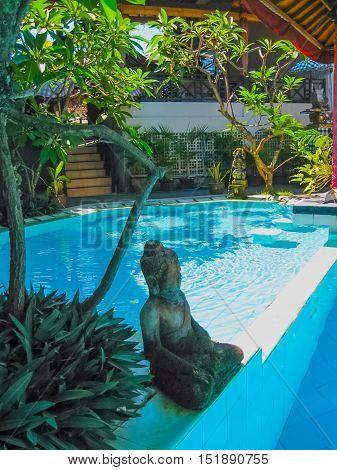 Kuta Bali Indonesia - April 09 2012: View of swimming pool at The Flora Kuta Bali