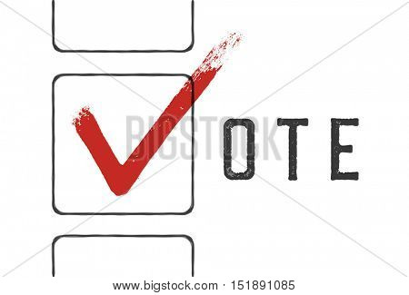 Grunge red checkmarks in checkbox. Vote concept illustration