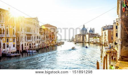 View from Accademia Bridge on Grand Canal in Venice Italy