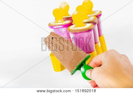 frozen chocolate popsicle in multiple collor boxes