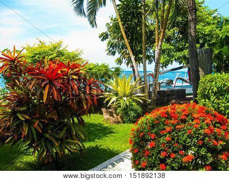 Amed, Indonesia - April 13, 2014: View of park at Coral View Villas at Amed, Indonesia