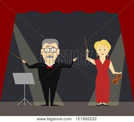 Music conductor and first violin standing on the stage. The woman violinist. Vector illustration