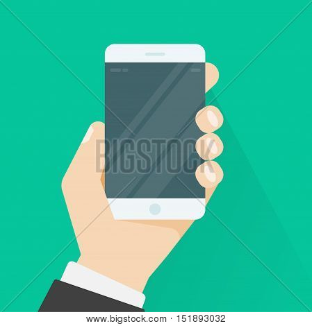 Hand holding smartphone vector illustration on green color background, flat cartoon hand with mobile phone