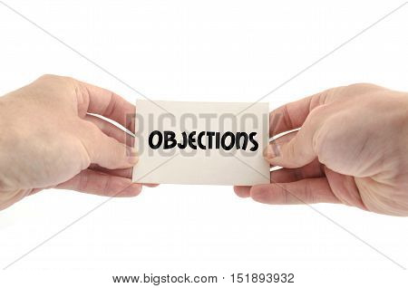 Objections text concept isolated over white background