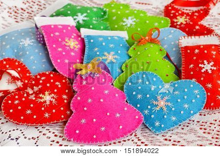 Christmas ornaments. Christmas felt ornaments set. Felt diy. Christmas background