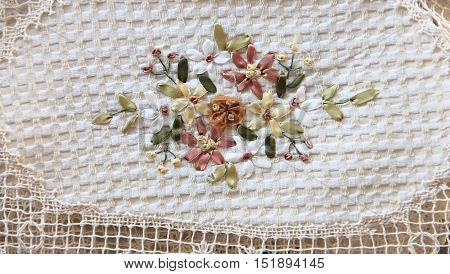 Fabric With Embroidered Ribbons For Background And Texture