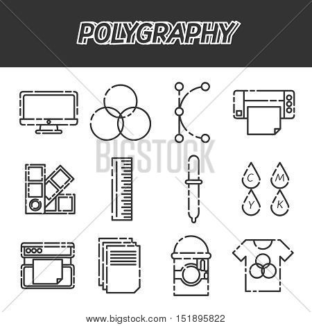 Polygraphy flat icons set. Spectrum and gamma, technology equipment, ink and palette, vector illustration
