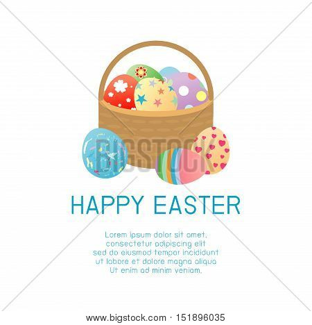 Happy Easter, Basket with color Easter eggs isolated on white background. Easter eggs.Happy Easter banners with easter eggs in a basket. Vector illustration.
