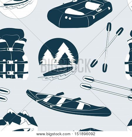 Rafting and kayaking icons collection pattern. Rafting equipment. Life vest jacket, paddle oar, kayak boat, helmet and gloves vector pictogram in flat design. River boat trip web elements.