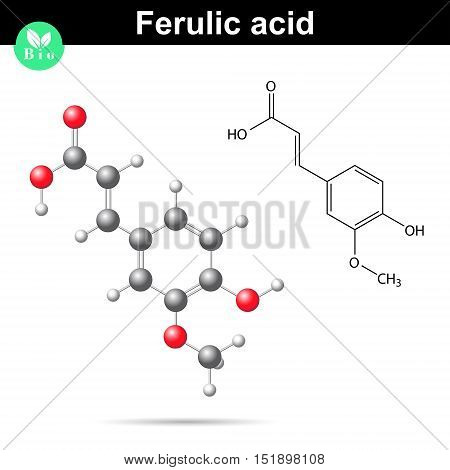 Ferulic acid chemical molecule 2d and 3d vector illustration of molecule molecular structure and model signs on white background eps 10