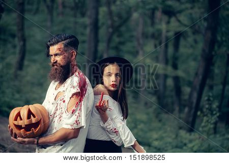 Halloween Couple With Pumpkin And Blood