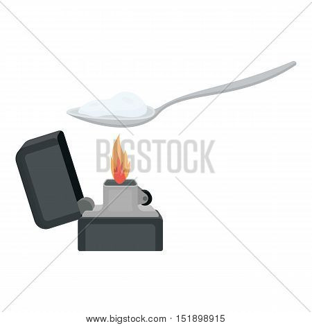 Heroin icon in cartoon style isolated on white background. Drugs symbol vector illustration.