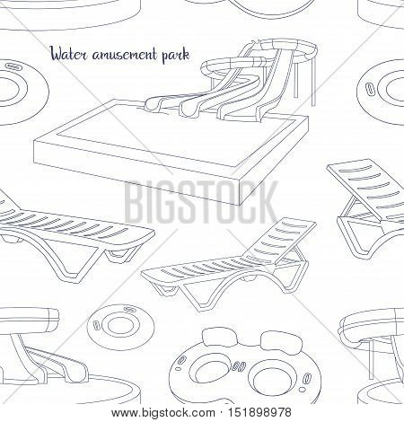 Water amusement park pattern with slides and splash pads for family fun set abstract illustration. Vector illustration, EPS 10
