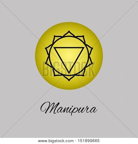 Manipura.Solar plexus chakra.Third Chakra symbol of human. Vector illustration. Element human energy system. Yogameditationreiki and buddhism color simbol.