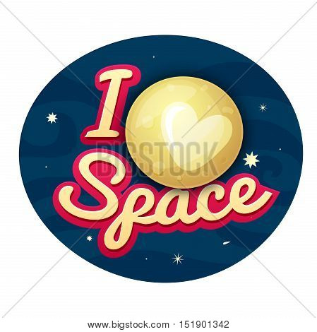 I love space concept design, print on t-shirt with Pluto on night sky, vector illustration
