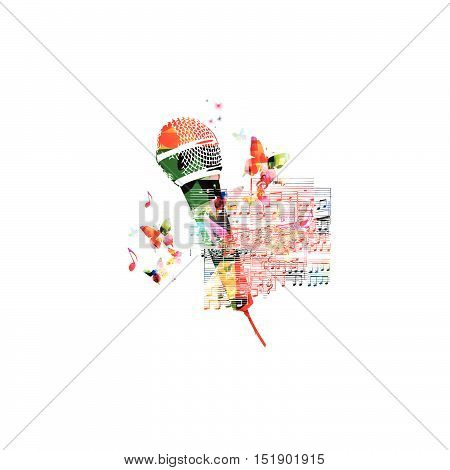 Creative music style template vector illustration, colorful microphone with music staff and notes background. Poster, brochure, banner, flyer, card, placard, concert, music festival, music shop design