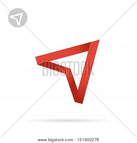 Red arrow pointing up ribbon shape 3d vector illustration isolated on white background eps 10