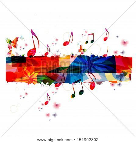Creative music template vector illustration, colorful music notes, music background. Musical design, music stave symbols. Poster, brochure, banner, flyer, concert, music festival, music shop design