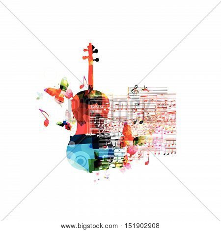 Creative music style template vector illustration, colorful violoncello, music instrument with music staff and notes background. Poster, brochure, banner, concert, music festival, music shop design