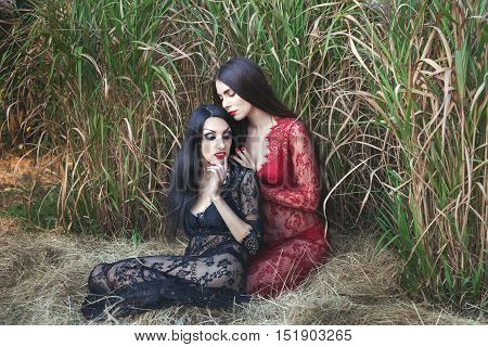 Two women flirting in nature they are dressed in negligees.