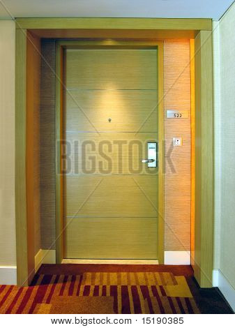 Hotel room door entrance