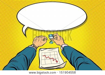 Business is bad, the graph of sales is down, the businessman got drunk, pop art retro vector illustration