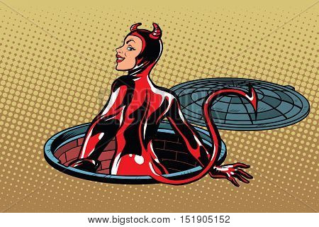 Red devil girl succubus emerges from hell, pop art retro vector illustration. Luke city sewer underground
