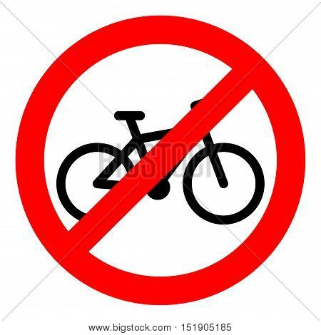 Bike ban sign. Bycicle and bike isolated. Banner prohibition stop and forbidden not allowed. Vector illustration