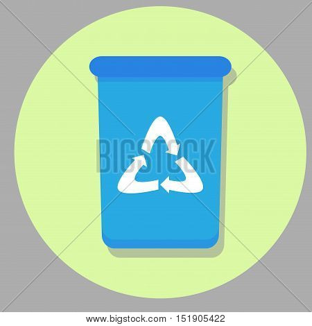 Bin icon flat. Wheelie bin recycle and trash can box rubbish bin. Vector illustration
