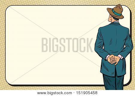 Retro man back near the billboard, pop art vector illustration