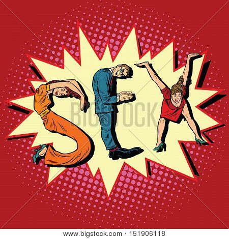 Sex, letters business people, pop art retro vector illustration. businessman font