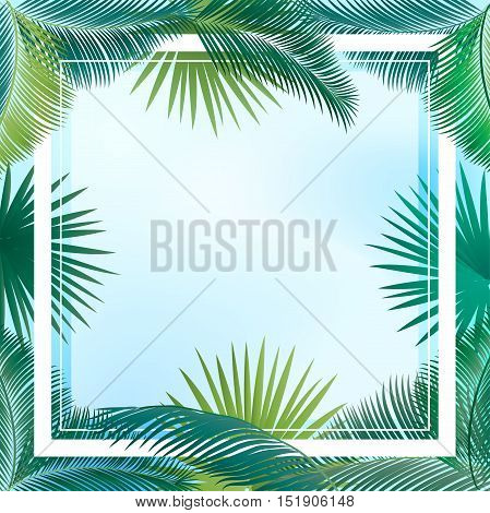 Sukkot frame for Jewish Holiday Sukkot. Palm tree leaves frame. Green palm leafs border. Vector Illustration. Sukkot background. Tropical border. Exotic palm leaves and sky.
