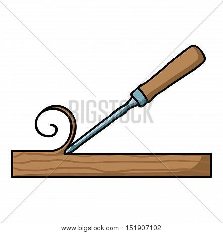 Chisel icon in cartoon style isolated on white background. Sawmill and timber symbol vector illustration.