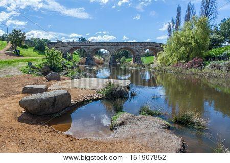Richmond Bridge And Reflection. Tasmania, Australia Tasmania, Australia