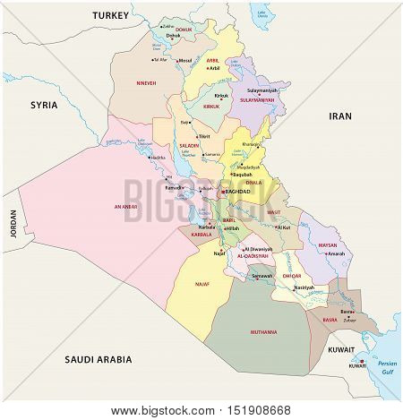 Administrative and political map of the Iraq republic