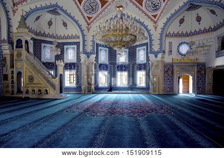 Istanbul Turkey - October 2 2016: Istanbul Seyit Nizam Mosque in Zeytinburnu district. Mosque has been restored re-open the service.