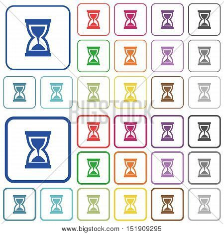 Set of hourglass flat rounded square framed color icons on white background. Thin and thick versions included.