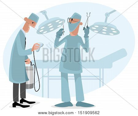 Vector illustration of a surgeon and anesthetist