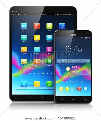 Creative abstract mobility and modern wireless telecommunication technology business concept: 3D render illustration of tablet computer PC and metal black glossy touchscreen smartphone with colorful interface isolated on white background with reflection e