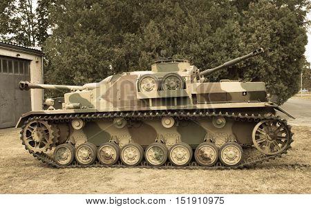 Poland Poznan -October 1 2016. View of the Stug IV - German self-propelled gun of World War II.
