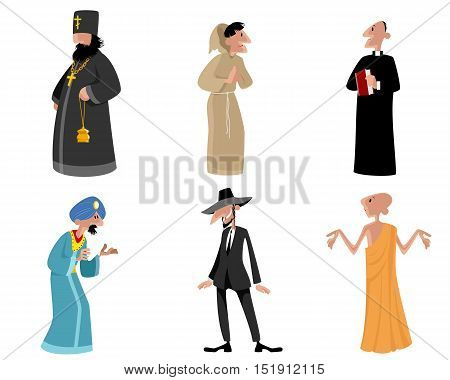 Vector illustration of a six religious figures