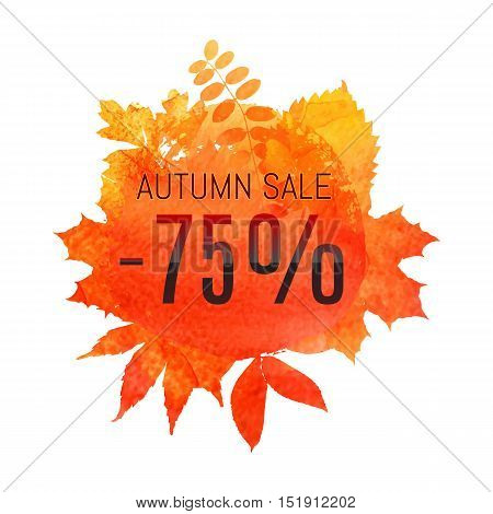 Autumn Leaf Foliage Watercolor. Autumn Sale - 75 % Off . Fall Sale. Web Banner Or Poster For E-comme